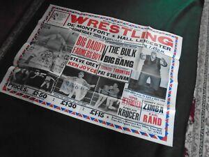 Original Vintage Wrestling Poster - De Montfort  Hall - Leicester - 1970/80s ?