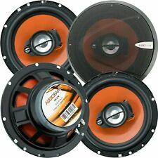"4) Audiobank 6.5"" 600 Watt 3-Way Car Audio Stereo Coaxial Speakers with Grill"