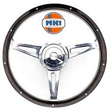 """Vw Golf & Scirocco Mk1 Dark 15"""" Riveted Wood Rim Steering Wheel & Boss Kit"""