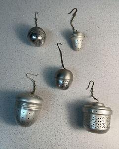 VINTAGE TEA STRAINERS HOLDER MAKER ALUMINUM ACORN BALL CHAIN LIDS INFUSER COFFEE