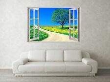 Country Road Scene 3D Full Colour Window Home Wall Art Stickers Mural Decal