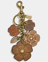 NWT Coach Tea Rose Mix Willow Floral Bag Charm Keychain 17451 Brass Saddle Multi