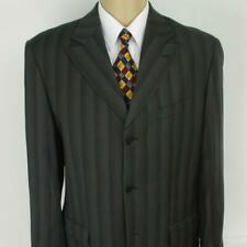 42 L (40 S) Ferrecci Gray Stripe 120's Wool 3 Btn Mens Jacket Sport Coat Blazer