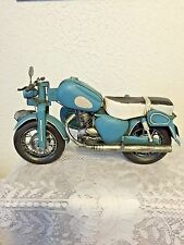 LARGE TIN MOTORCYCLE WITH SIDE CAR  HARLEY?  BLUE AND SILVER HANDCRAFTED