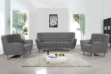 Modern Grey Fabric Sofa Loveseat Tub Bucket Accent Armchair 1 / 2 / 3 Seater