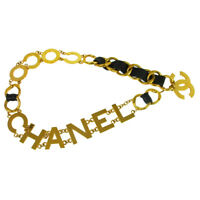 CHANEL CC COCO Gold Chain Belt Black Leather Vintage Authentic AK31393f