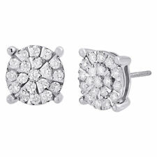 Diamond Earrings .925 Sterling Silver Round Cut Circle Design Studs 0.97 Ct.