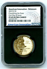 2019 S $1 DELAWARE NGC PF69 PROOF INNOVATION DOLLAR FIRST DAY ISSUE BLACK CORE