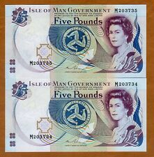 SET Isle of Man 2 x 5 pounds, (1983) 2015 P-41c  QEII, UNC > Consecutive Pair