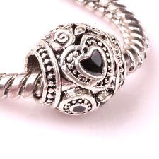 5pcs Tibetan silver love lampwork spacer beads fit Charm European Bracelet AS139