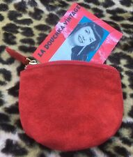 French 1960s Women Coin Key Wallet~ Red Suede Leather ~Made In France~Chic & New