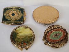4 antike Schminkspiegel, Spiegel, Puderdosen, vielen Verzierungen, pocket mirror