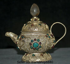 """5.2"""" Old Tibet Nepal Crystal Silver Wire Inlay turquoise Handle Teapot Teakettle"""