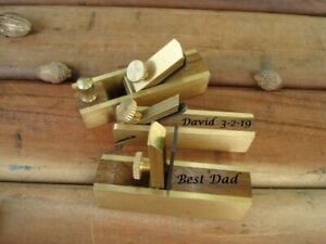Personalized 3 piece Micro Mini Brass Hand Plane Set Wood Finish Planer,  Hobby