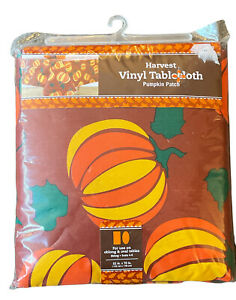Harvest Fall vinyl tablecloth flannel backed pumpkin patch oblong 52x70 in. NEW