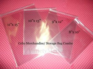 100 Cello Merchandise Bag Variety Pack ~ 4 Sizes ~ Self-Sealing & Resealable