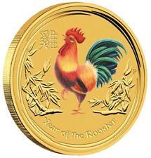 Australien 5 Dollar 2017 - Jahr des Hahnes Lunar II. - 1/20 Oz Gold ST in Farbe