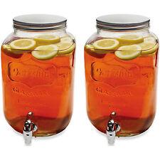 2x Glass Drinks 5 Litre Dispensers Vintage Beverage Water Juice Punch Drink Jar
