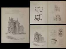 LE CROISIC, VILLA - PLANCHES ARCHITECTURE 1890 - DUMOULIN