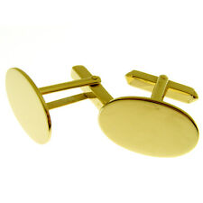 HALLMARKED 9 CARAT GOLD CUFFLINKS.  OVAL CUFFLINK 1mm thick with swivel fittings