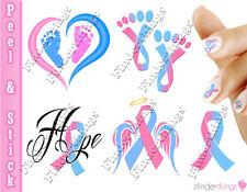 Pregnancy Infant Loss Awareness Ribbon Mix Nail Art Decal Sticker Set RIB909