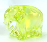2001 FENTON Art Glass IRIDIZED TOPAZ VASELINE Figurine ELEPHANT