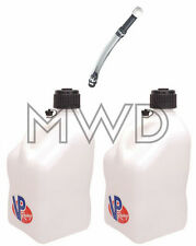 2 Pk VP 5 Gallon WHITE Racing Fuel Gas Can/Water Jug/Jerry Container&Deluxe Hose