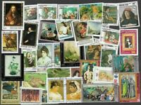 Paintings on Stamps 100 all different stamps collection