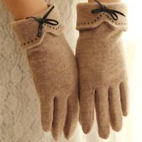 Women Ladies Winter Wool Cashmere Embroidery Touch Screen Fur Mitten Warm Glove