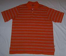 Mens ADIDAS CLIMALITE Golf Polo Orange Striped Short Sleeve Size L Large