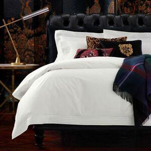 Ralph Lauren Tuxedo Duvet Cover White Pleats Full/Queen 100% Cotton $430
