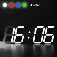 New Digital 3D LED Wall Clock Alarm Snooze Watch 12/24 Hour Display Modern Best