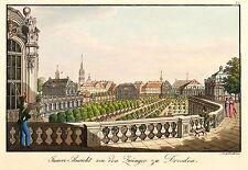 DRESDEN - ZWINGER INNENANSICHT - J.C.A. Richter - kolor. Umrissradierung 1820