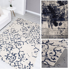 Moderner Vintage Teppich Designer Meliert Used Look Vintageteppich Blau Grau