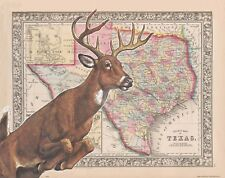 Whitetail Deer Hunting Texas State Map Art Print Unlimited Buck Sheds MAP26