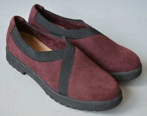 Ladies Clarks Artisan Burgundy & Black Suede Leather Low Wedge Shoes Size UK 5