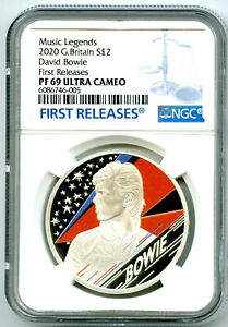 2020 2PD GREAT BRITAIN 1OZ SILVER PROOF DAVID BOWIE NGC PF69 UCAM FIRST RELEASES