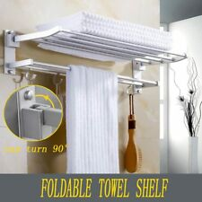 UK Double Towel Rail Holder Wall Mounted Bathroom Rack Shelf aluminum OS
