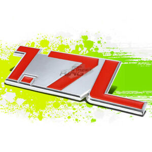 "SILVER ""1.7L""RED LETTER LOGO TRIM BADGE METAL EMBLEM DECAL AUTO EXTERIOR STICKER"