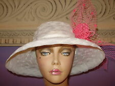 """Derby Hat  WHITE HOT PINK Church Wide Brim Hats 22 1/2"""" Circumference"""