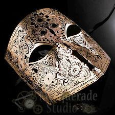 Mens Filigree Light Metal Bauta Venetian Costume Theater Masquerade Mask [Gold]