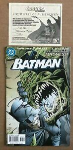 Batman 610 Signed Jim Lee +COA Second Hush Jeph Loeb Catwoman Killer Croc NM