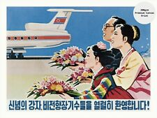 "North Korea Propaganda Poster on Canvas Print A WARM WELCOME 18x24"""