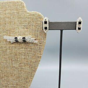 Kenneth Lane Art Deco Revival Demi Parure Jet Black & Clear Brooch Clip Earrings