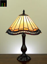 "12"" Tiffany Vintage Stained Glass Bedside Side Table Desk Lamp Leadlight Light"