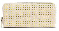 NWT - Merona Women's Cut-Out Zip Around Clutch Purse Wallet - Beige / Yellow