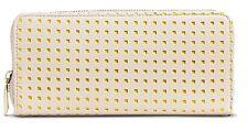 Merona Beige & Yellow Cut-Out Zip Around Clutch Purse Wallet - NWT