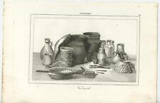 ANTIQUE COPPER PLATE ENGRAVING ART PRINT OF OLD ENGLAND POTTERY PITCHER TOOLS