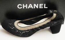 Chanel Classic CC Logo Black Stretch Lace Corduroy Toe Pumps Shoes 39