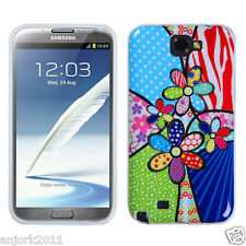 Samsung Galaxy Note II 2 CANDY SKIN COVER SOFT CASE ACCESSORY PATCHWORK FLOWERS
